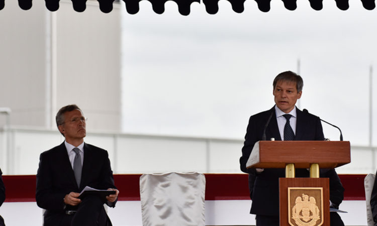 Prime Minister Dacian Ciolos speaks at the Inauguration of the Aegis Ashore Missile Defense Facility at the Deveselu Military Base. (Lucian Crusoveanu / Public Diplomacy Office)